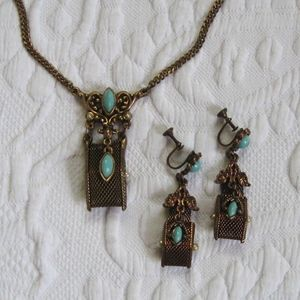 vintage Greek revival necklace and earring set